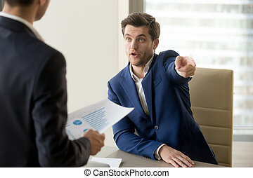Furious boss firing incompetent employee, dissatisfied with bad