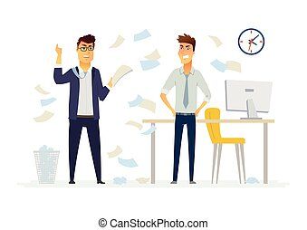 Furious boss in the office - modern cartoon people characters illustration. Exasperated man throws papers, documents in anger. An example of a stressful situation at work, impatience