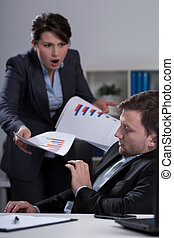 Furious boss - Young furious female boss and her scared...