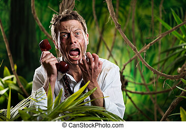 Furious businessman on the phone lost in jungle - Angry...