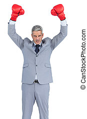 Furious businessman posing with red boxing gloves