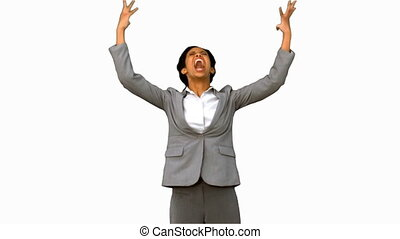 Furious businesswoman raising arms on white screen