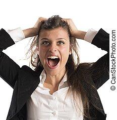 Furious businesswoman screams - Furious businesswoman...