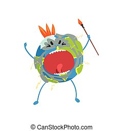 Furious cartoon Earth planet character screaming, funny globe emoji vector Illustration