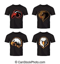 Furious cobra, eagle and ram sport vector logo concept set isolated on white background.