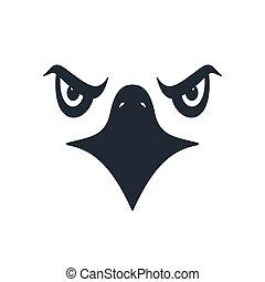 Furious eagle face, vector illustration