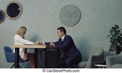 Furious female boss rebuking flirting employees - Angry...