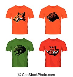 Furious fox, bear, snake and boar sport vector logo concept...