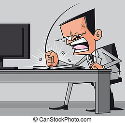 Furious frustated businessman hitting the computer keyboard...