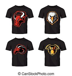 Furious hornet, bull, eagle and ram sport vector logo ...