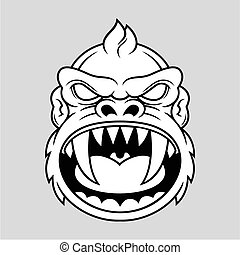 illustration of monkey head with big sharp canine in vector
