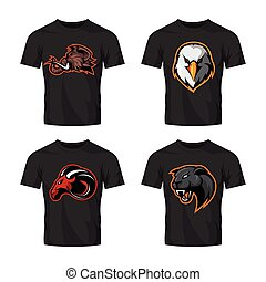 Furious panther, mammoth, eagle and ram sport vector logo concept set isolated on white background.