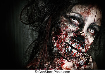 furious - Close-up portrait of a scary bloody zombie girl....