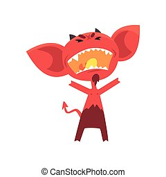 Furious red devil with horns, big ears and tail. Fictional character from hell in flat style