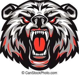Vector illustration of furious angry face of terrible bear with open mouth and terrible teeth. Great for use as a logo element, as icon, as a tattoo or to illustrate the strength and aggressiveness in the design.