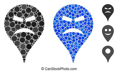 Furious Smiley Map Marker Composition Icon of Circle Dots