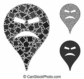 Furious smiley map marker Mosaic Icon of Rugged Parts