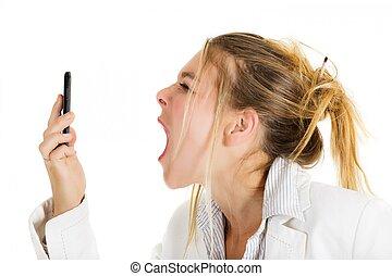 Furious woman calling