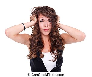 Furious woman - Furious young woman over white background