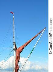 furled thames barge sail
