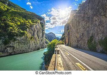 Furlo Pass or Gola del Furlo, road, river and gorge on the ancient Roman road Via Flaminia. Marche Italy.