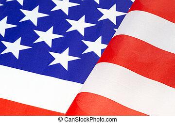 Furls of American flag ripple in re