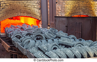 Furnace at the plant - Sintering of parts in the furnace at...