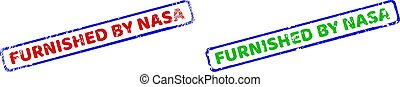FURNISHED BY NASA Bicolor Rough Rectangular Stamps with Grunged Styles