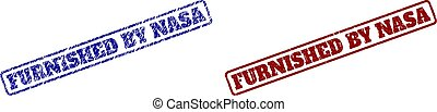 FURNISHED BY NASA Blue and Red Rounded Rectangle Stamps with Corroded Styles