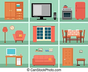 furnishing interior set for rooms in home. concept interior...