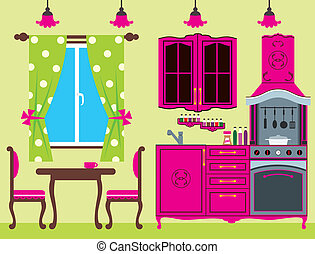 furniture., 厨房, 内部