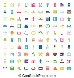 furniture 100 icons set for web flat