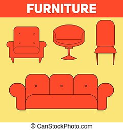 Furniture abstract icon vector illustration