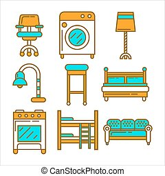 Furniture and equipment for house graphic set on white -...