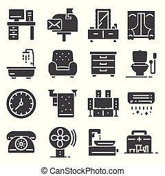 Furniture and home decor icon set. Vector