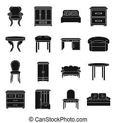 Furniture and home interior set icons in black style. Big collection of furniture and home interior bitmap,rastr symbol stock illustration