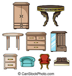 Furniture and home interior set icons in cartoon style. Big collection of furniture and home interior bitmap, raster symbol stock illustration
