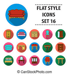 Furniture and home interior set icons in flat style. Big collection of furniture and home interior bitmap,raster symbol stock illustration