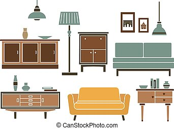 Furniture and interior accessories in flat style