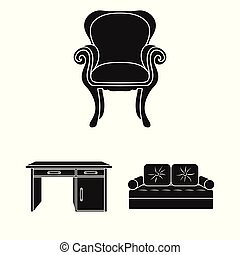 Furniture and interior black icons in set collection for design. Home furniture vector symbol stock web illustration.