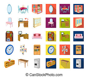 Furniture and interior cartoon, flat icons in set collection for design. Home furnishings bitmap isometric symbol stock web illustration.
