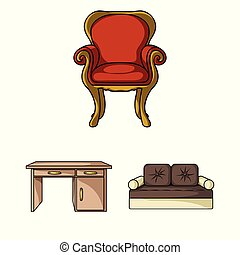 Furniture and interior cartoon icons in set collection for design. Home furniture vector symbol stock web illustration.