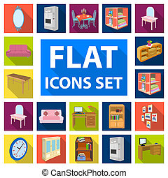 Furniture and interior flat icons in set collection for design. Home furnishings bitmap isometric symbol stock web illustration.