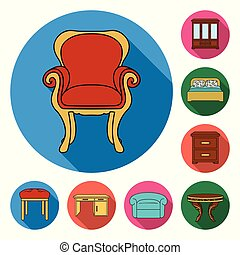 Furniture and interior flat icons in set collection for design. Home furniture vector symbol stock web illustration.