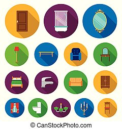 Furniture and interior flat icons in set collection for design.Home furniture vector symbol stock web illustration.