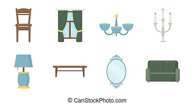 Furniture and interior icons in set collection for design.Home furniture vector symbol stock web illustration.