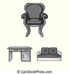 Furniture and interior monochrome icons in set collection for design. Home furniture vector symbol stock web illustration.