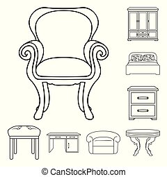 Furniture and interior outline icons in set collection for design. Home furniture vector symbol stock web illustration.
