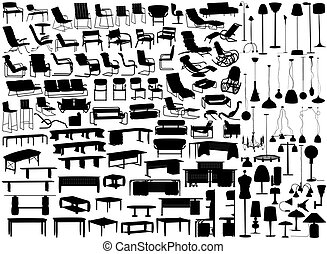 Furniture and lights - Collection of editable vector...