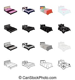 Furniture, bed, mattress, and other web icon in cartoon style.Textiles, bedclothes, doss, icons in set collection.